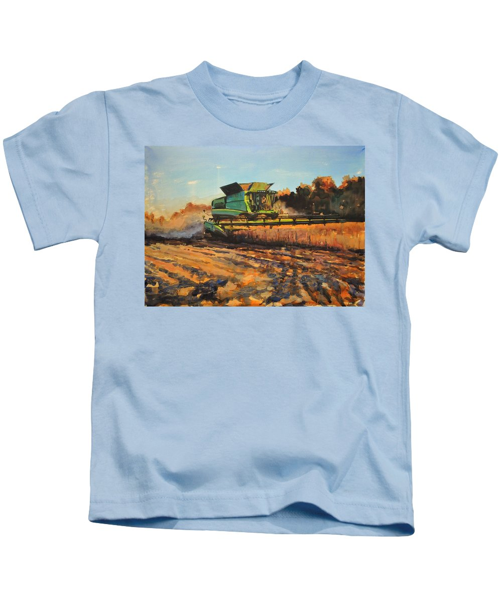 John Deere Kids T-Shirt featuring the painting Evening Harvest by Spencer Meagher