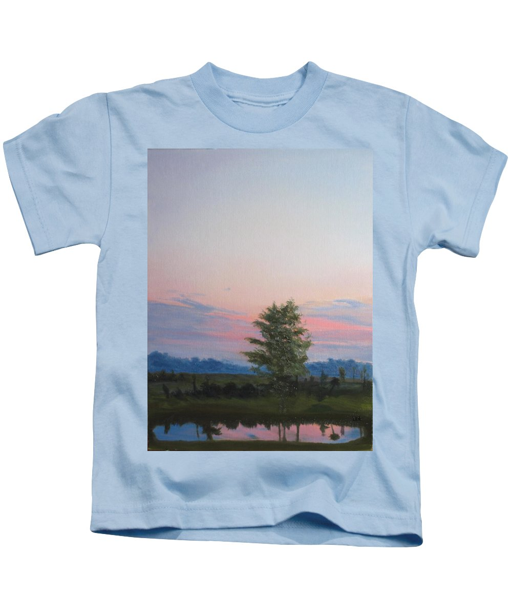 Landscape Kids T-Shirt featuring the painting Evening Sky by Lea Novak