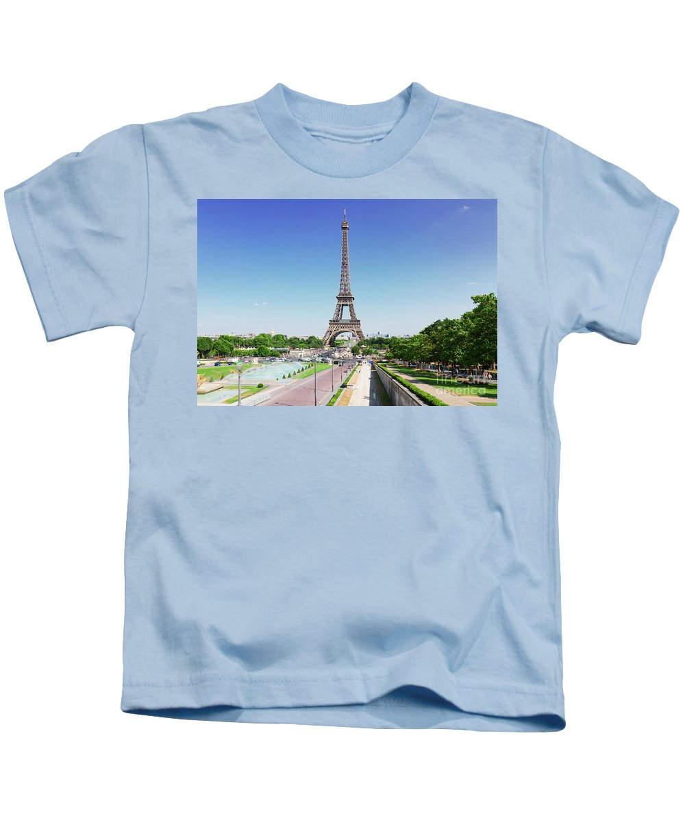 Eiffel Kids T-Shirt featuring the photograph Eviffel Tower With Fountains by Anastasy Yarmolovich