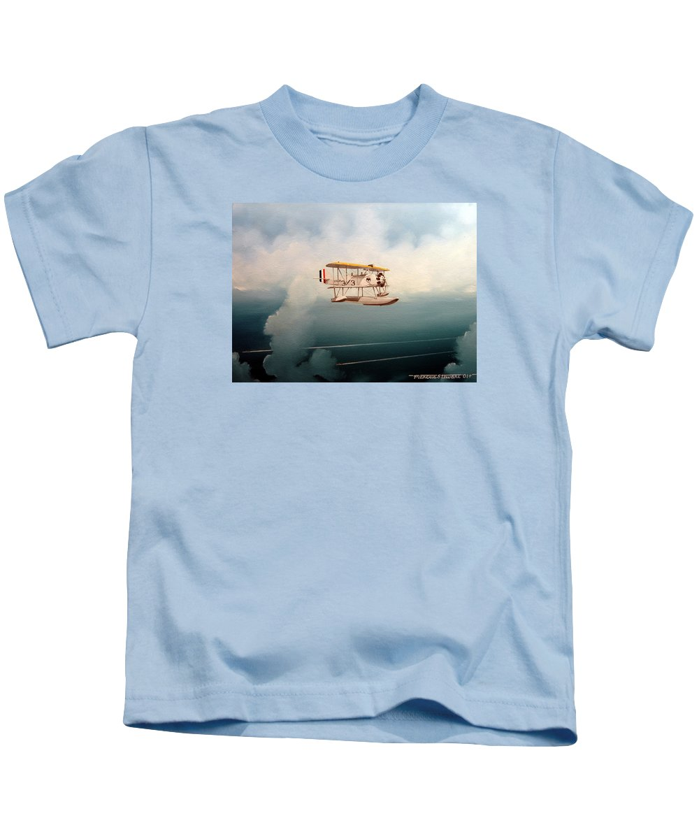Military Kids T-Shirt featuring the painting Eyes Of The Fleet by Marc Stewart