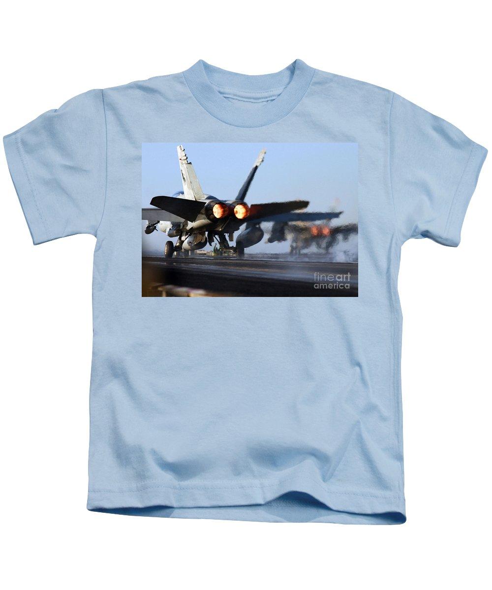 Truman Kids T-Shirt featuring the photograph F 18 Hornet-aircraftcarriers by R Muirhead Art