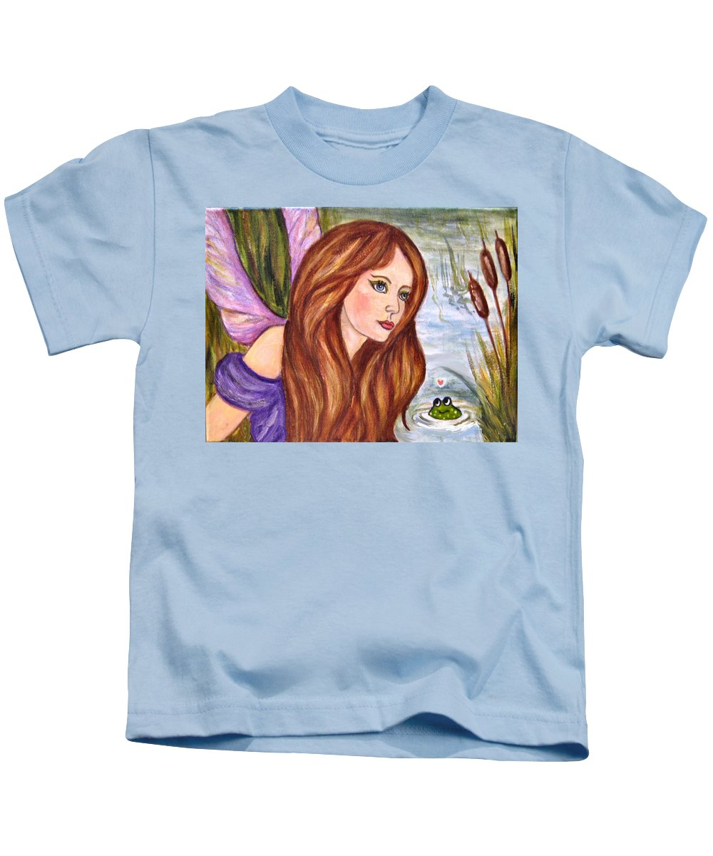 Swamp Fairy Kids T-Shirt featuring the painting Fairy by Frances Gillotti