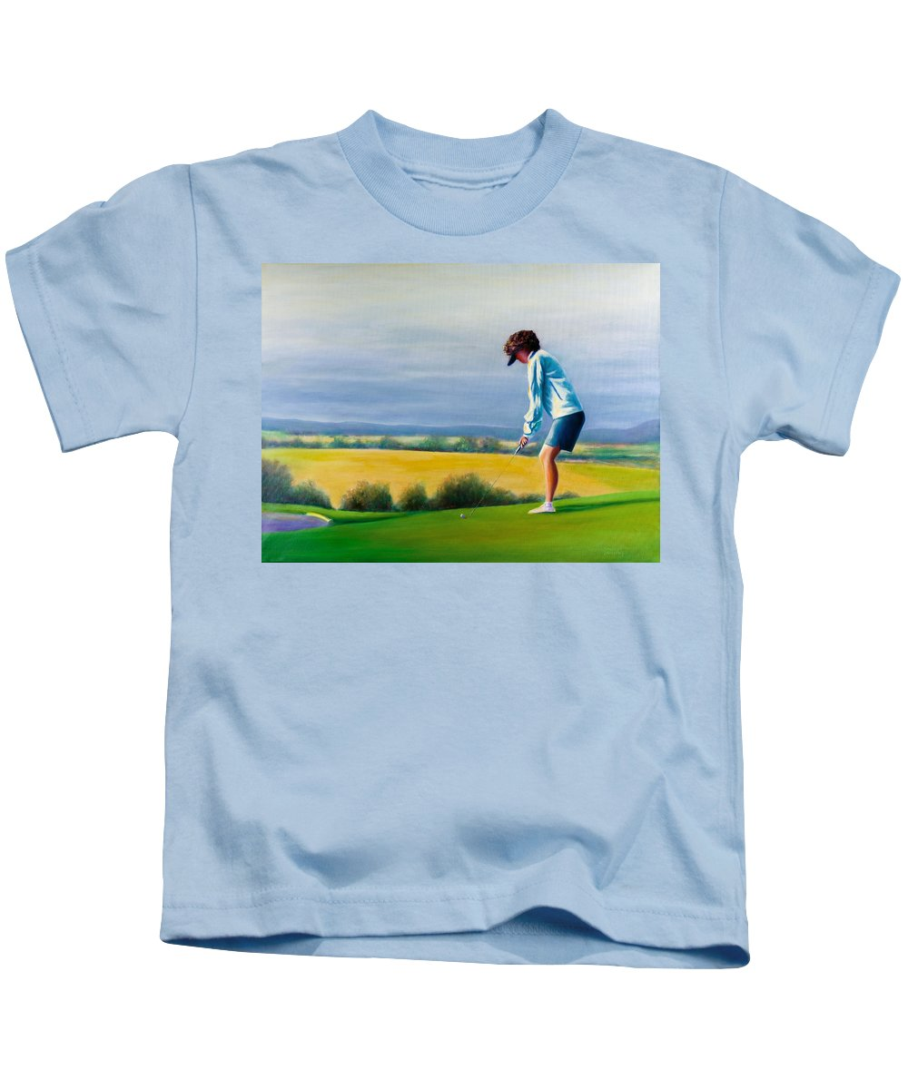 Golfer Kids T-Shirt featuring the painting Fairy Golf Mother by Shannon Grissom