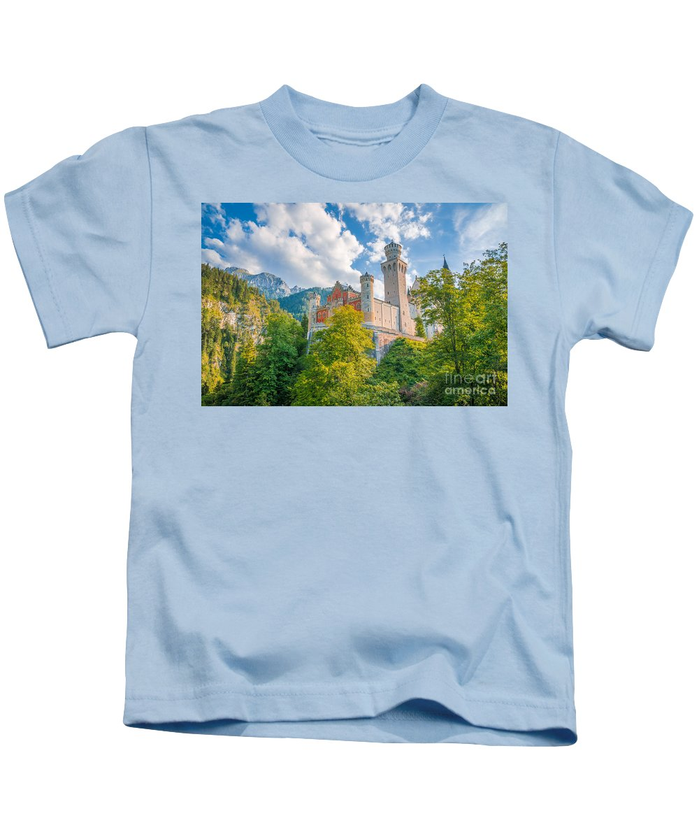 Alpine Kids T-Shirt featuring the photograph Fairytales From Neuschwanstein Castle by JR Photography