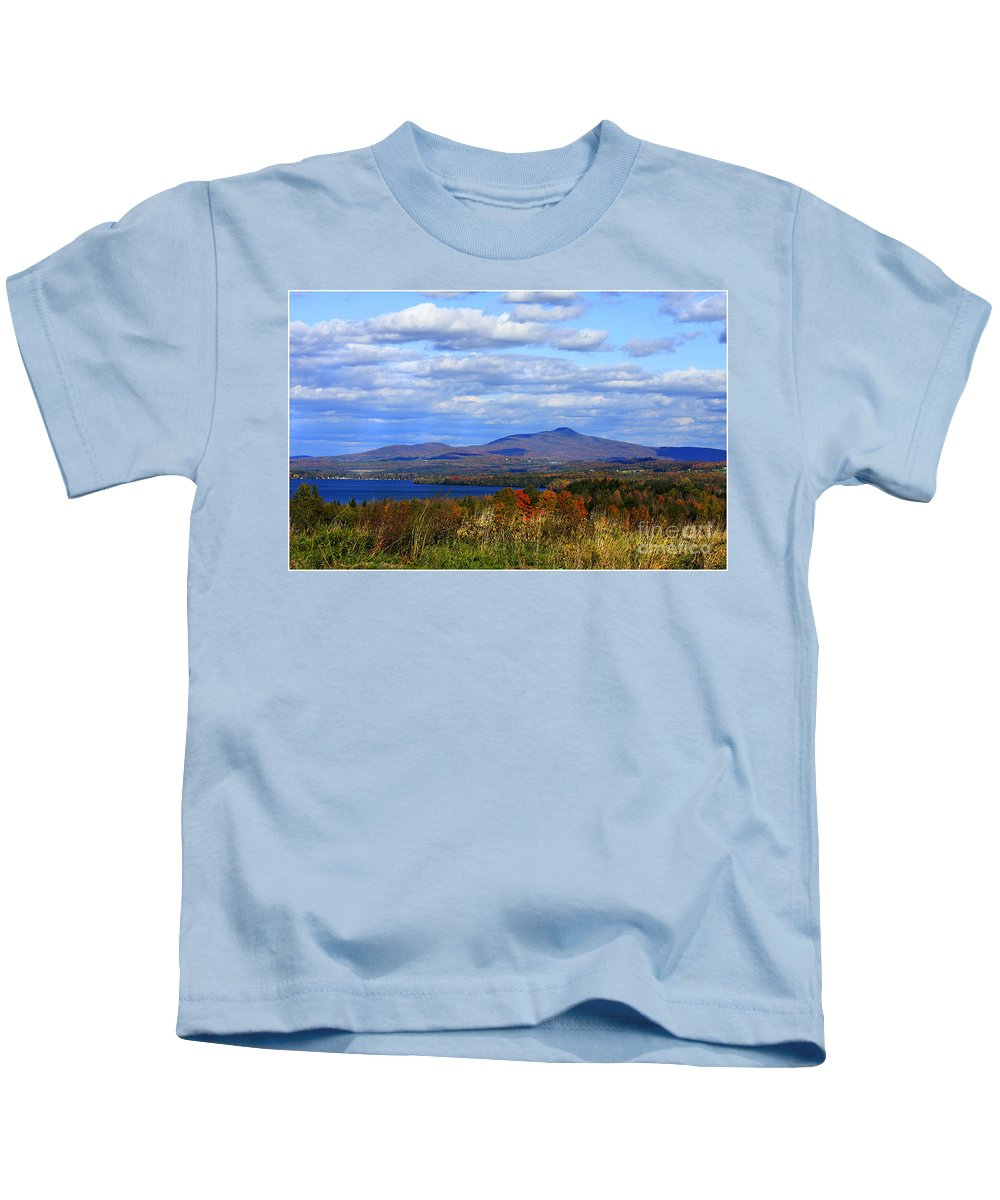 Vermont Kids T-Shirt featuring the photograph Fall Colors At Lake Carmi by Deborah Benoit
