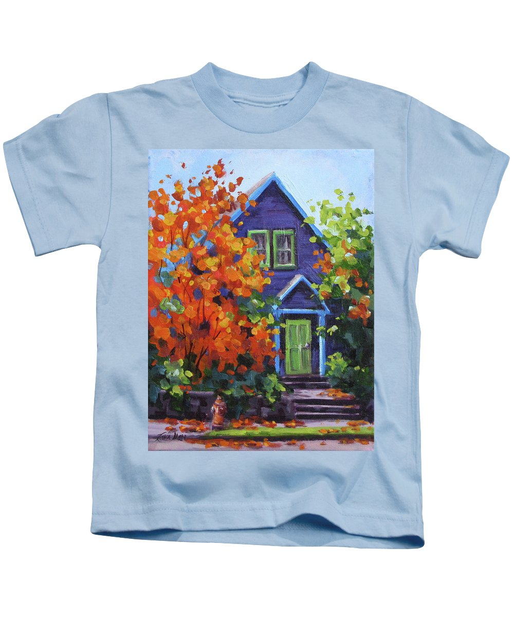 Color Kids T-Shirt featuring the painting Fall In The Neighborhood by Karen Ilari