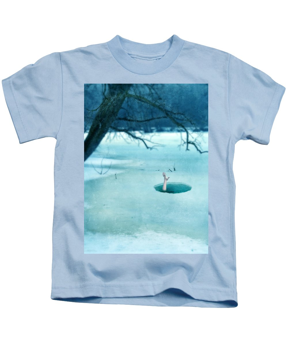 Hand Kids T-Shirt featuring the photograph Fallen Through The Ice by Jill Battaglia