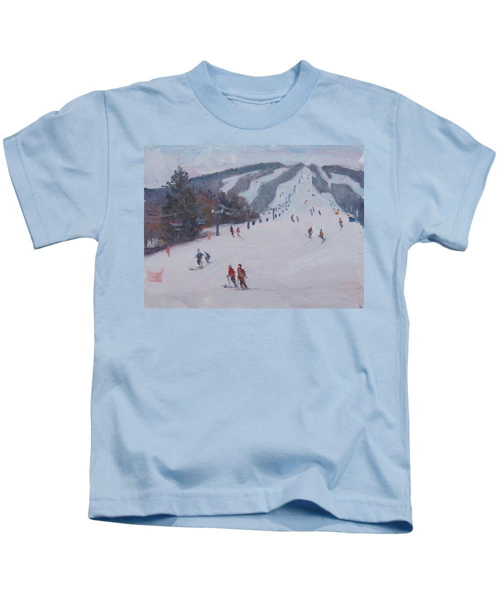 Landscape Kids T-Shirt featuring the painting Family Ski by Dianne Panarelli Miller