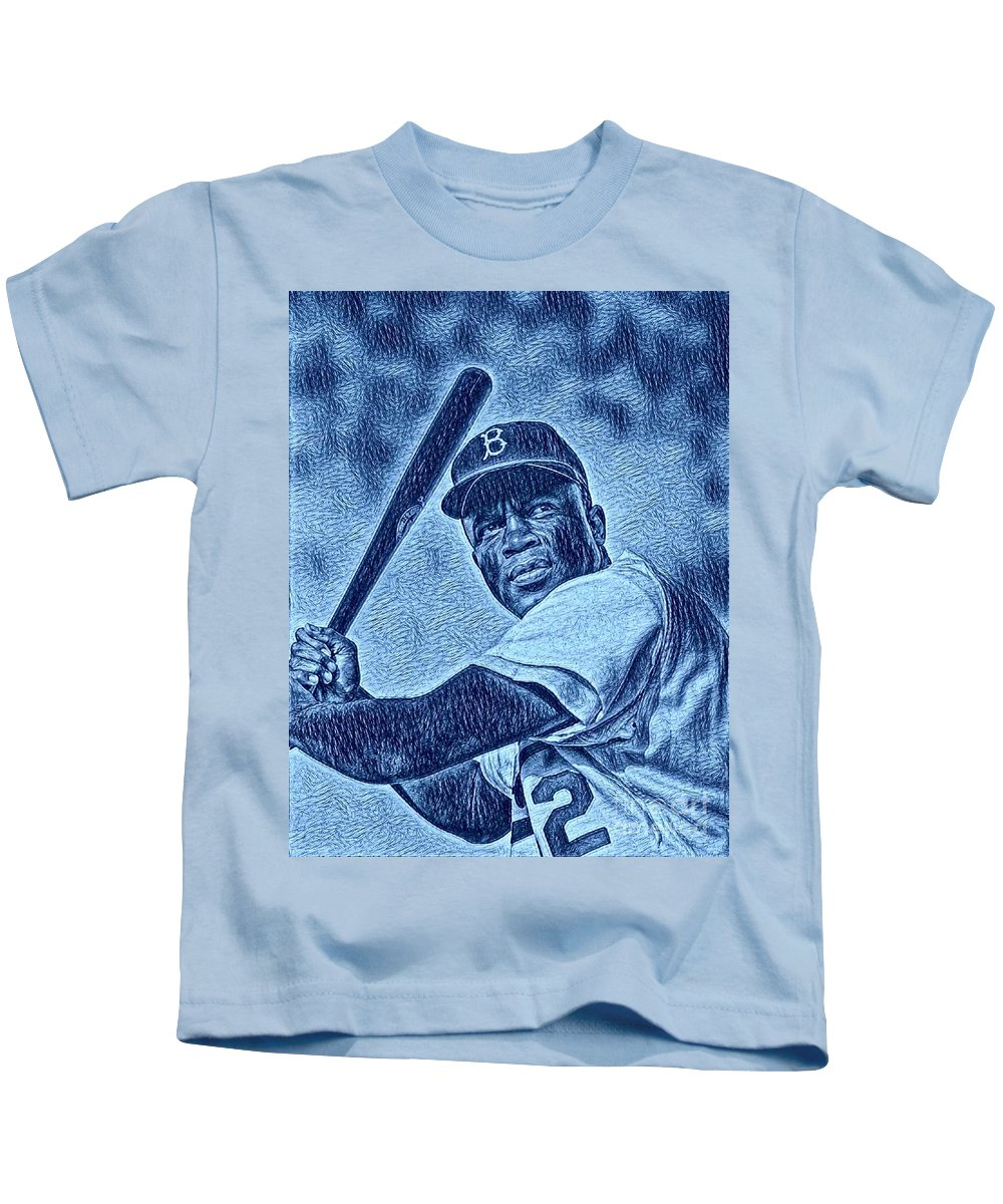 Jackie Kids T-Shirt featuring the photograph Famous Jackie Robinson by Pd
