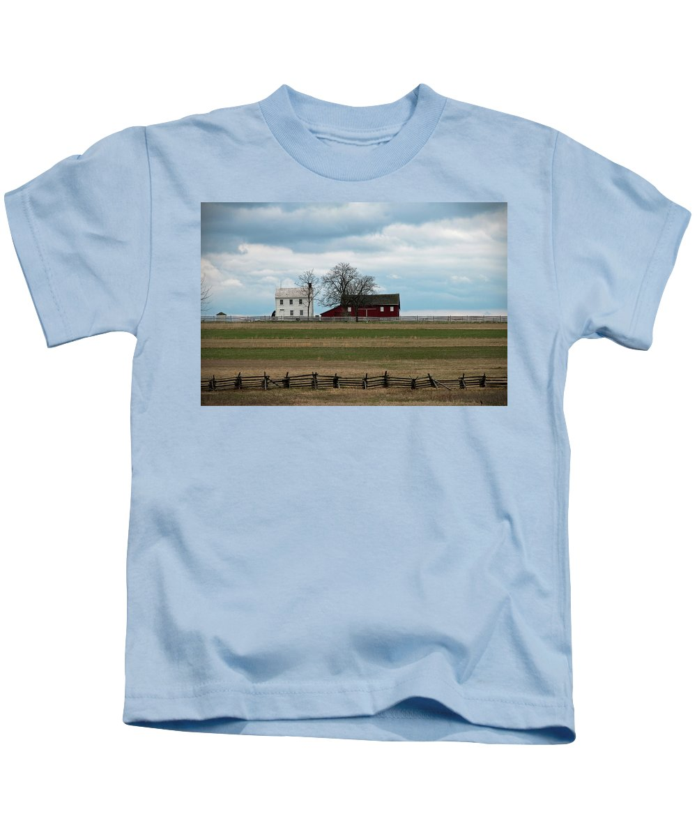 Farm House Kids T-Shirt featuring the photograph Farm House And Barn by David Arment