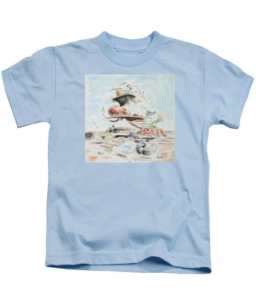 Abstract Kids T-Shirt featuring the painting Fast Food by Dave Martsolf