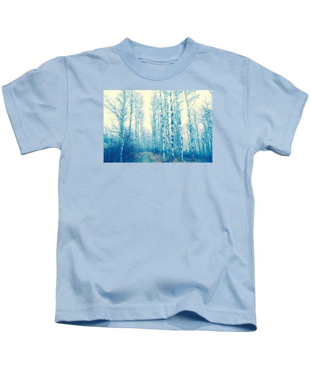 Tree Landscape Kids T-Shirt featuring the photograph Faze Blue by Kendra Keir