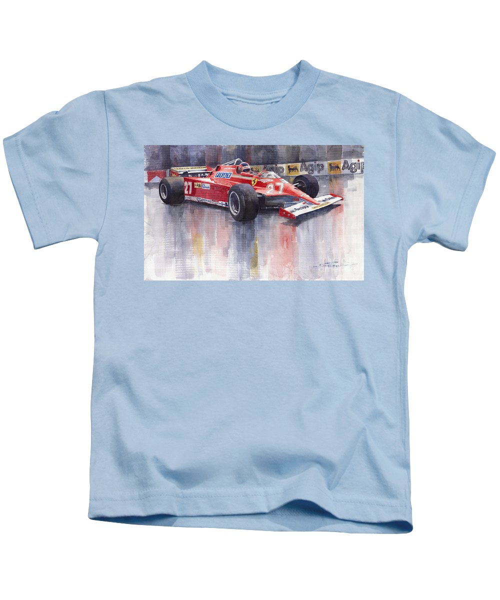 Watercolour Kids T-Shirt featuring the painting Ferrari 126c 1981 Monte Carlo Gp Gilles Villeneuve by Yuriy Shevchuk