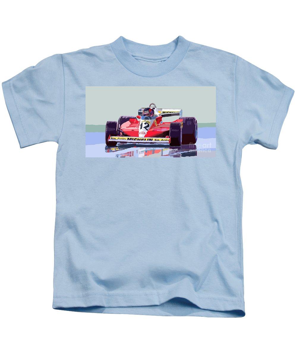 Automotiv Kids T-Shirt featuring the digital art Ferrari 312 T3 1978 Canadian Gp by Yuriy Shevchuk