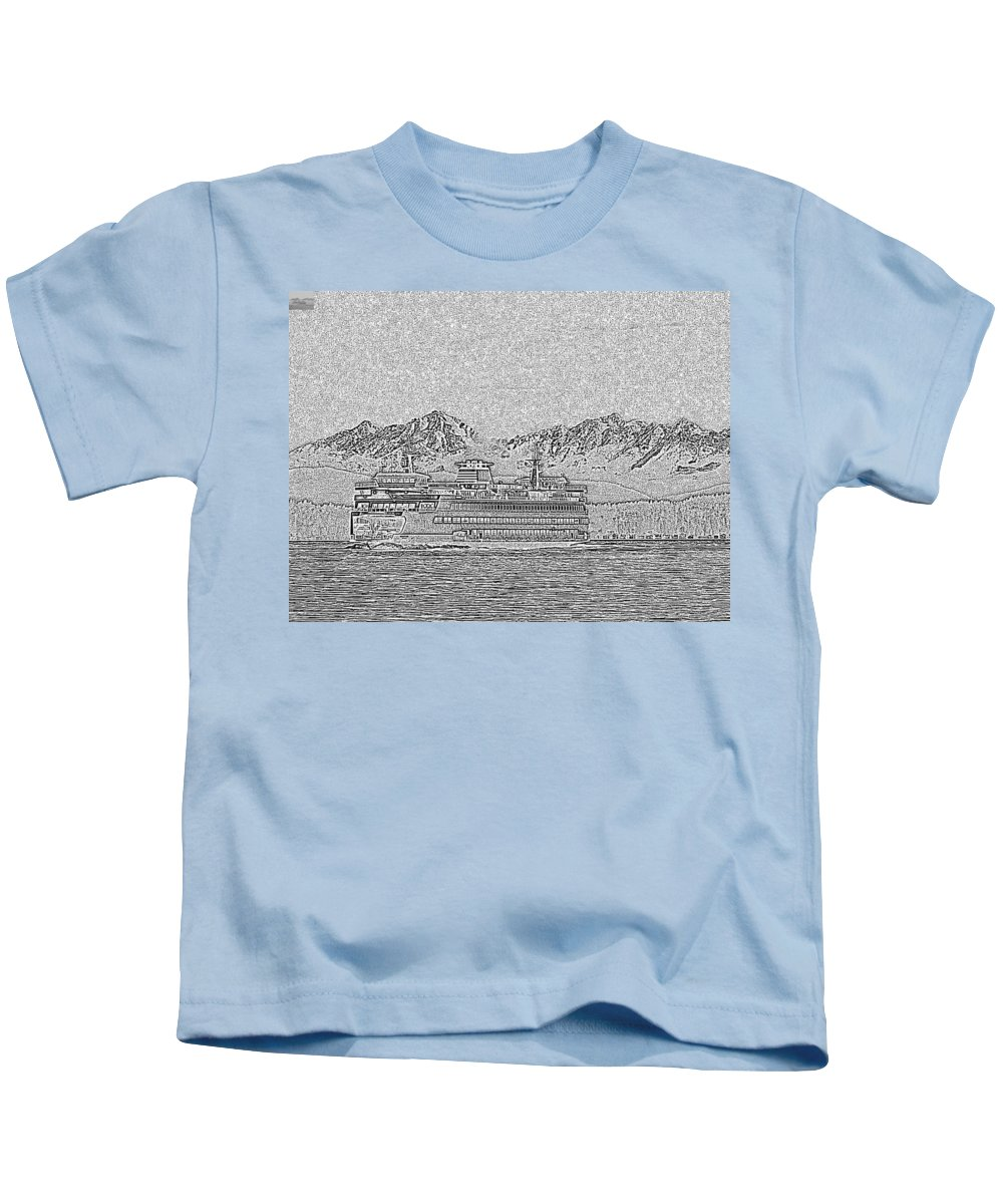 Seattle Kids T-Shirt featuring the photograph Ferry On Elliott Bay 5 by Tim Allen