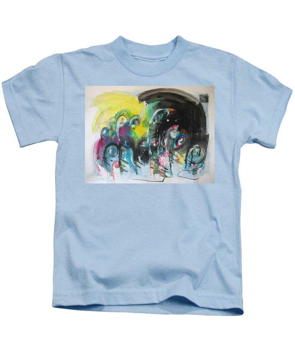 Fiddleheads Painting Kids T-Shirt featuring the painting Fiddleheads 105- Original Abstract Colorful Landscape Painting For Sale Red Blue Green by Seon-Jeong Kim