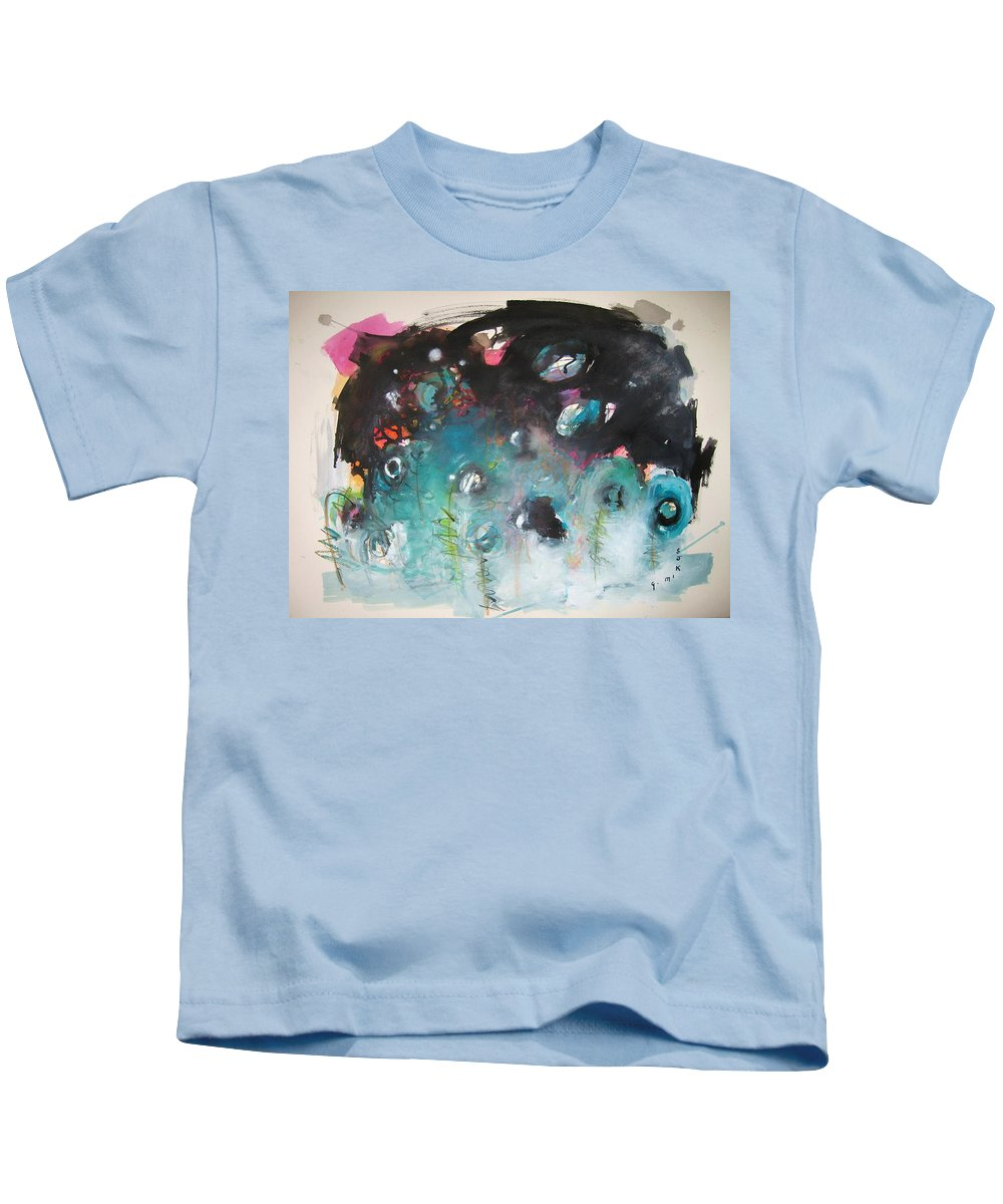 Fiddleheads Paintings Kids T-Shirt featuring the painting Fiddleheads- Original Abstract Colorful Landscape Painting For Sale Red Blue Green by Seon-Jeong Kim