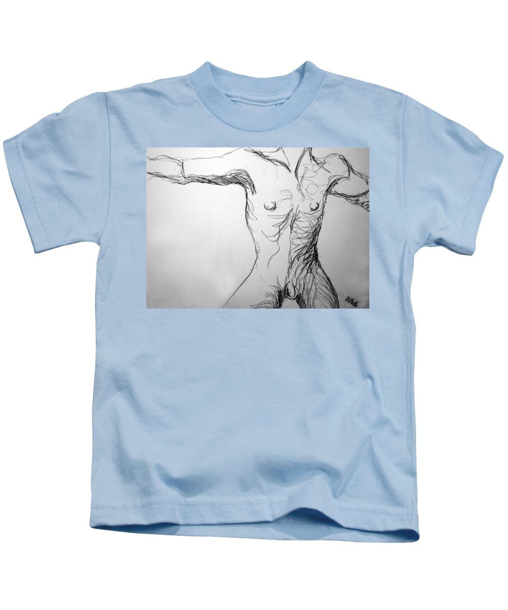 Figure Kids T-Shirt featuring the drawing Figure Drawing 5 by Nancy Mueller