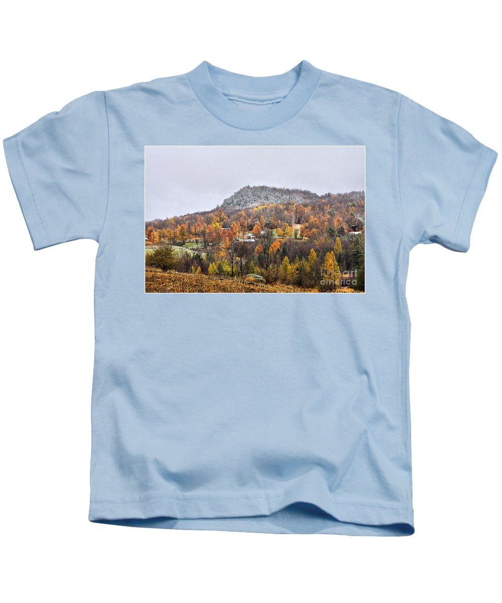 Fall Kids T-Shirt featuring the photograph First Dusting by Deborah Benoit