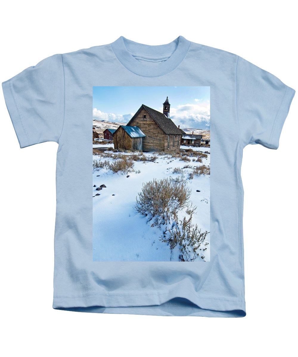 California Kids T-Shirt featuring the photograph First Snow Bodie by Norman Andrus