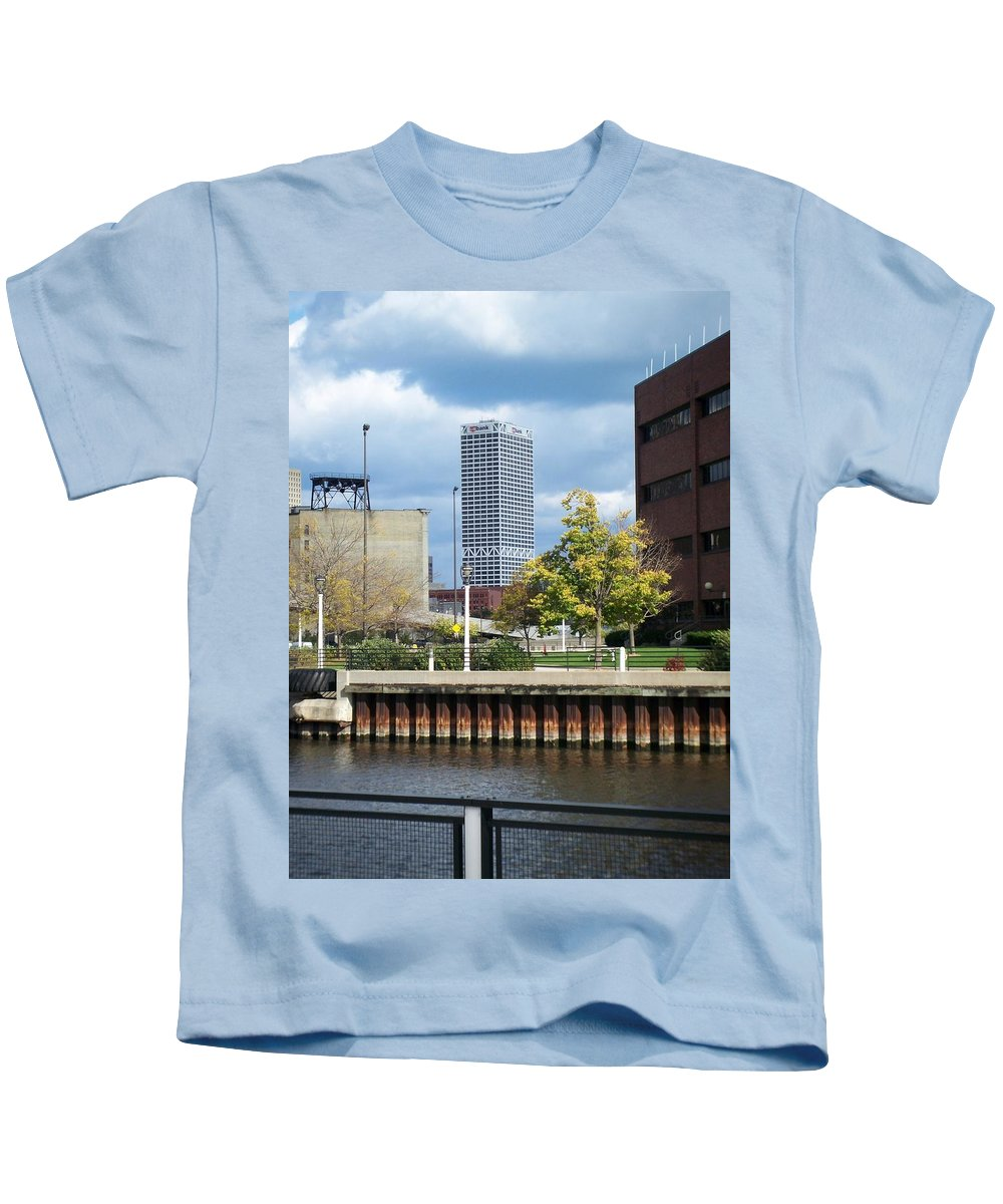 First Star Bank Kids T-Shirt featuring the photograph First Star Tall View From River by Anita Burgermeister