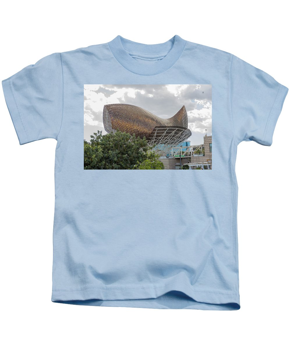 Peix Kids T-Shirt featuring the photograph Fish By Frank Owen Gehry - Olympic Village - Barcelona Spain by Jon Berghoff