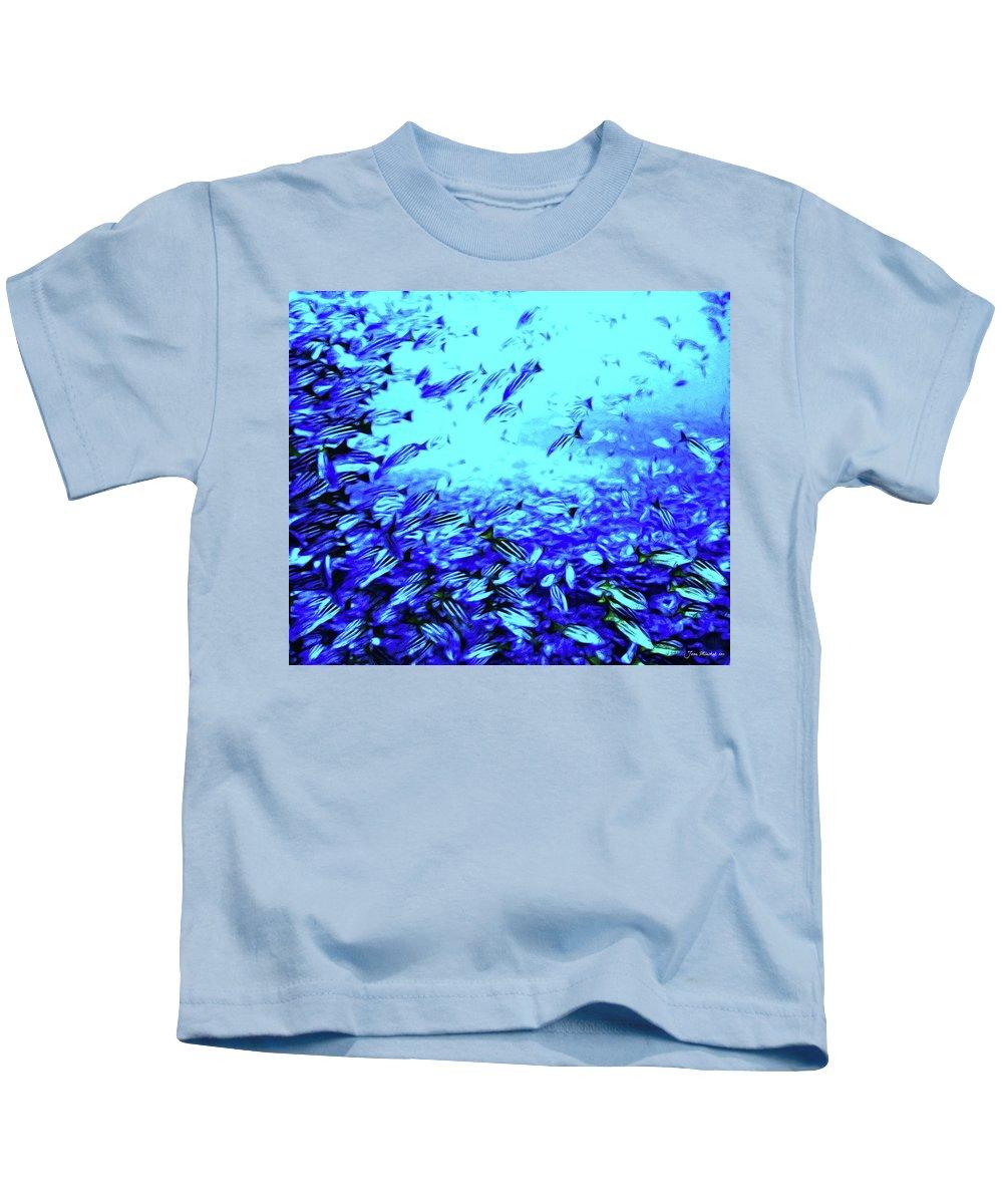 Coral Kids T-Shirt featuring the digital art Fish Traffic by Joan Minchak