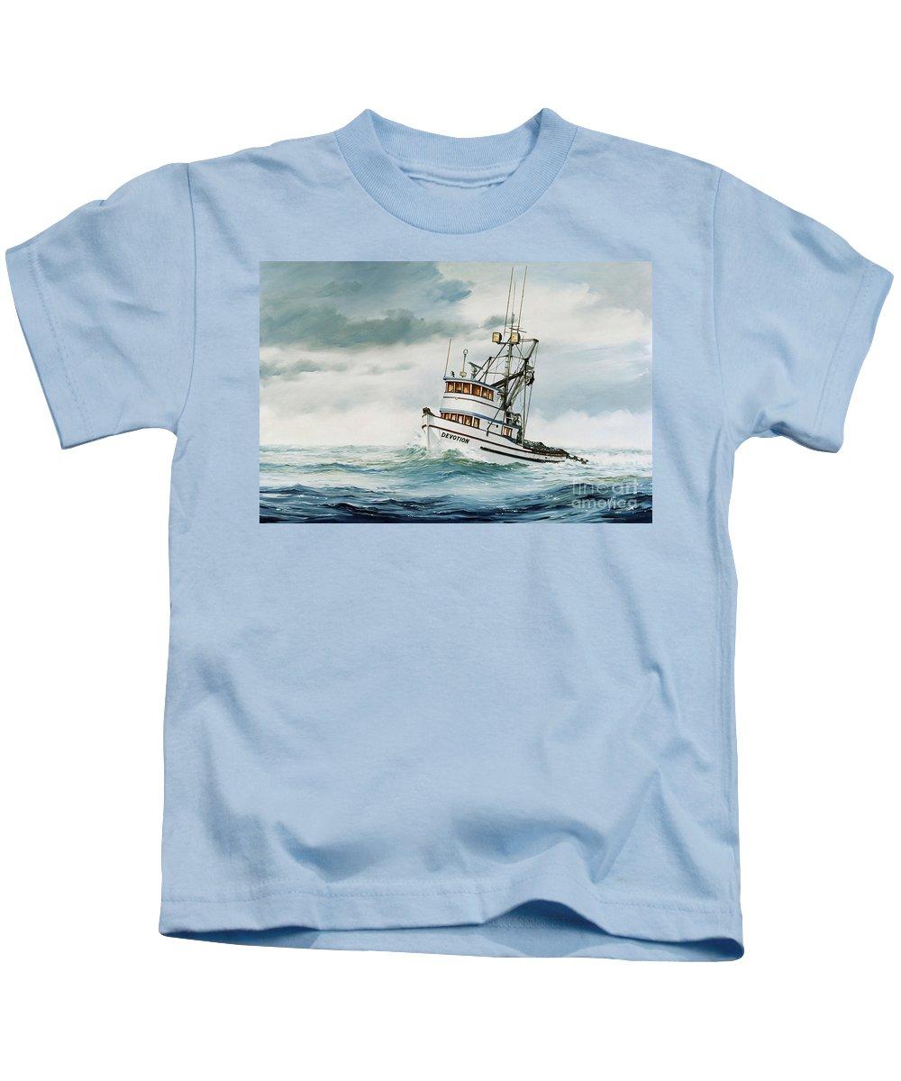 Fishing Vessel.fishing Vessel Fine Art Print Kids T-Shirt featuring the painting Fishing Vessel Devotion by James Williamson