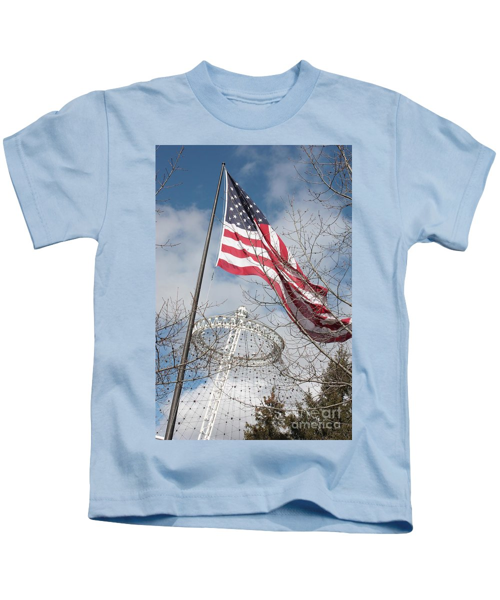 American Flag Kids T-Shirt featuring the photograph Flag Over Spokane Pavilion by Carol Groenen