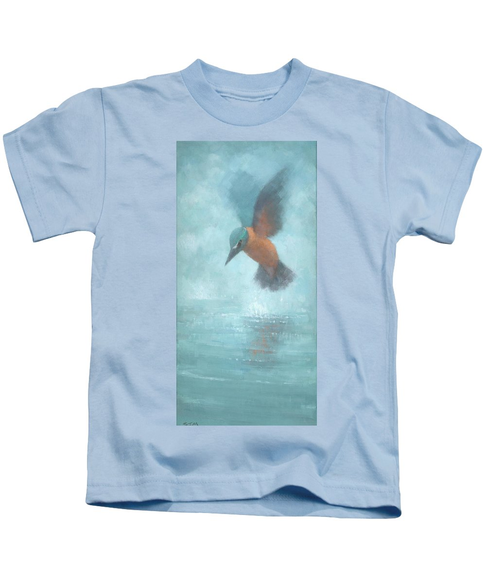 Blue Kids T-Shirt featuring the painting Flame In The Mist by Steve Mitchell