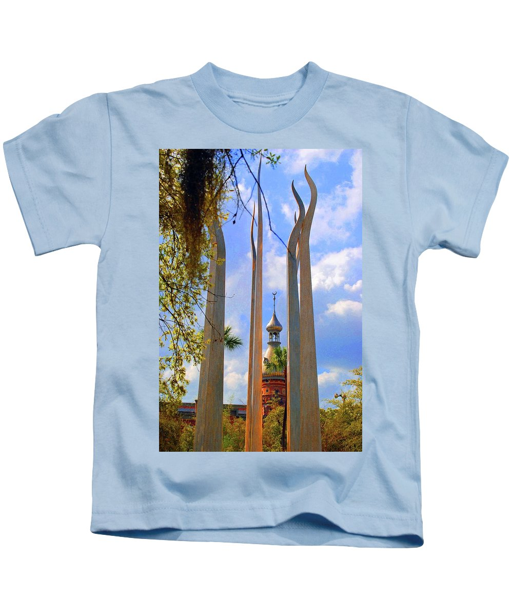 University Of Tampa Kids T-Shirt featuring the photograph flame of the Sky by Jost Houk