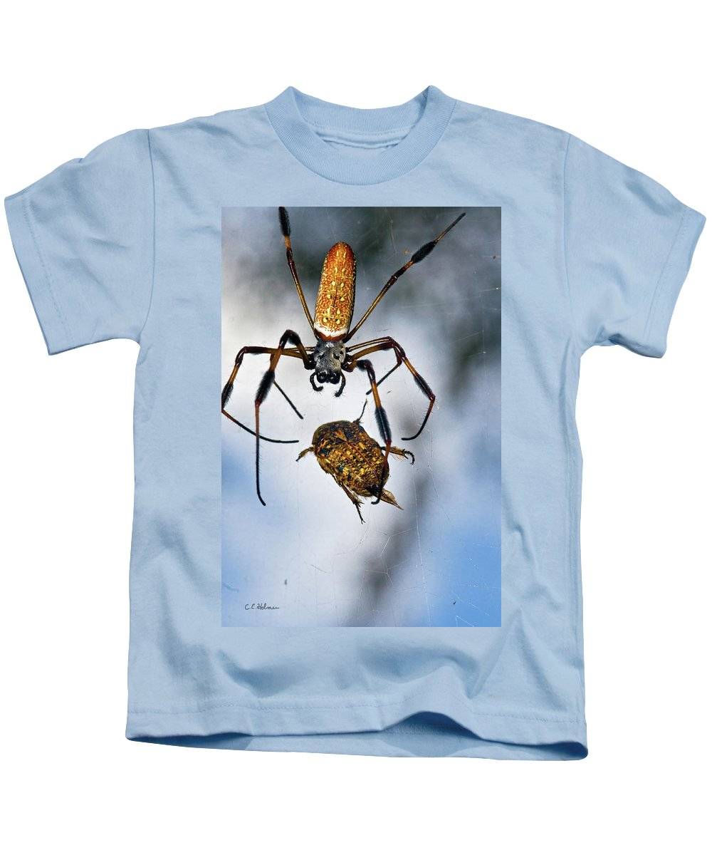 Golden Silk Orb-weaver Kids T-Shirt featuring the photograph Flew In For Dinner by Christopher Holmes