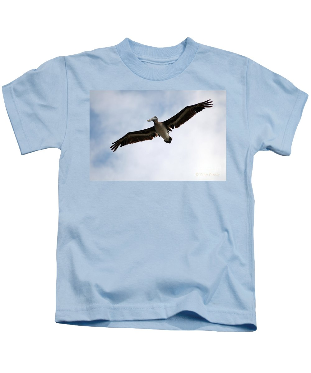 Clay Kids T-Shirt featuring the photograph Flight Of The Pelican by Clayton Bruster