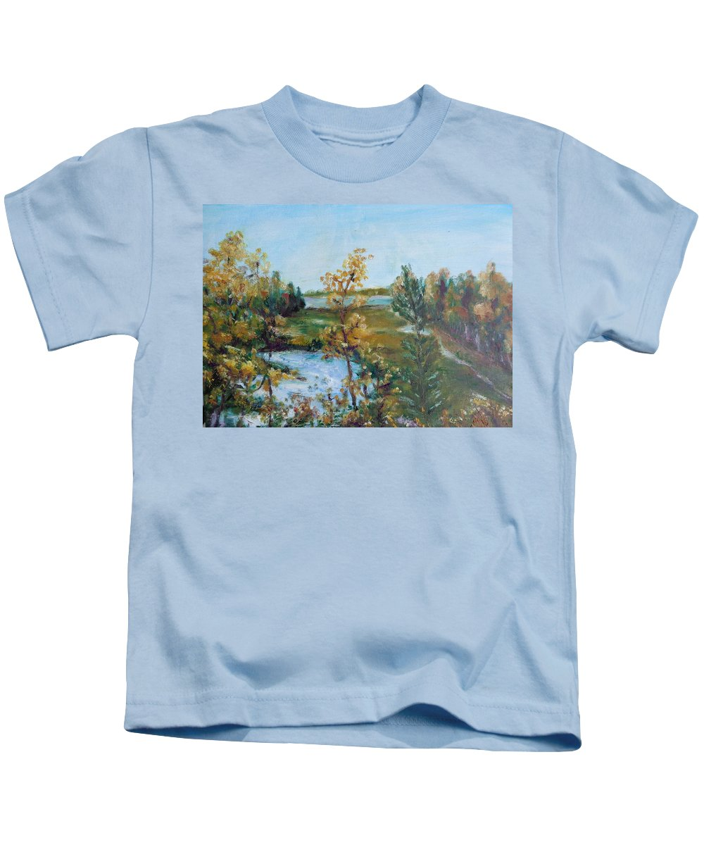 Landscape Kids T-Shirt featuring the painting Fll At The Oyster River by Eydie Paterson