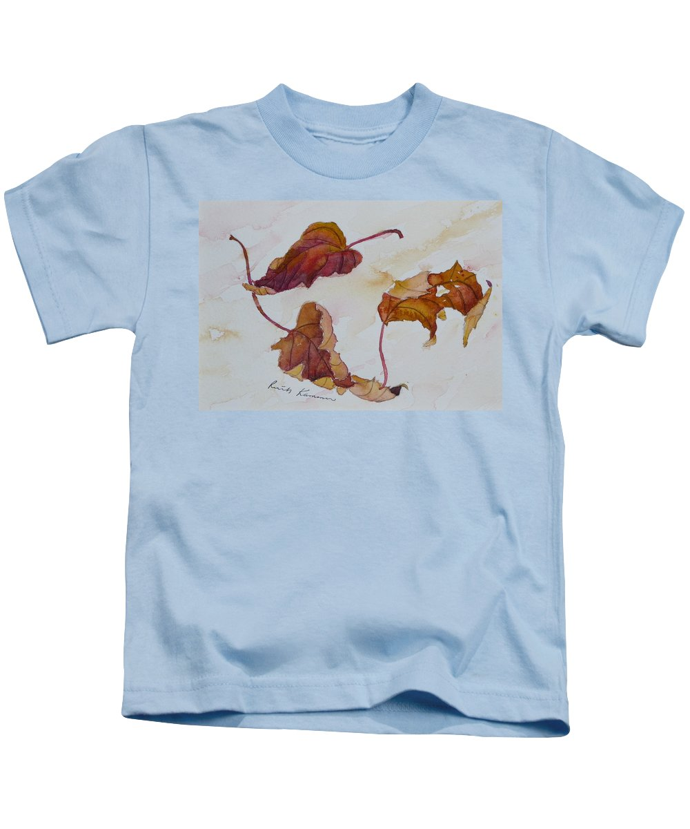 Fall Kids T-Shirt featuring the painting Floating by Ruth Kamenev