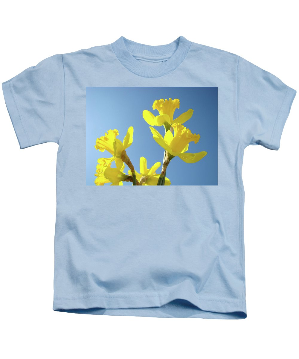 Daffodils Kids T-Shirt featuring the photograph Floral Art Daffodil Flowers Spring Prints Blue Sky Baslee Troutman by Baslee Troutman