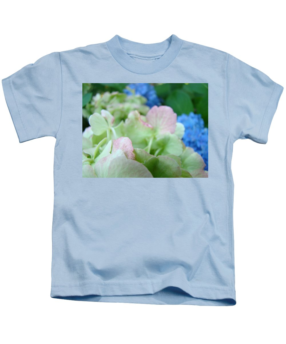 Hydrangea Kids T-Shirt featuring the photograph Floral Artwork Hydrangea Flowers Soft Nature Giclee Baslee Troutman by Baslee Troutman