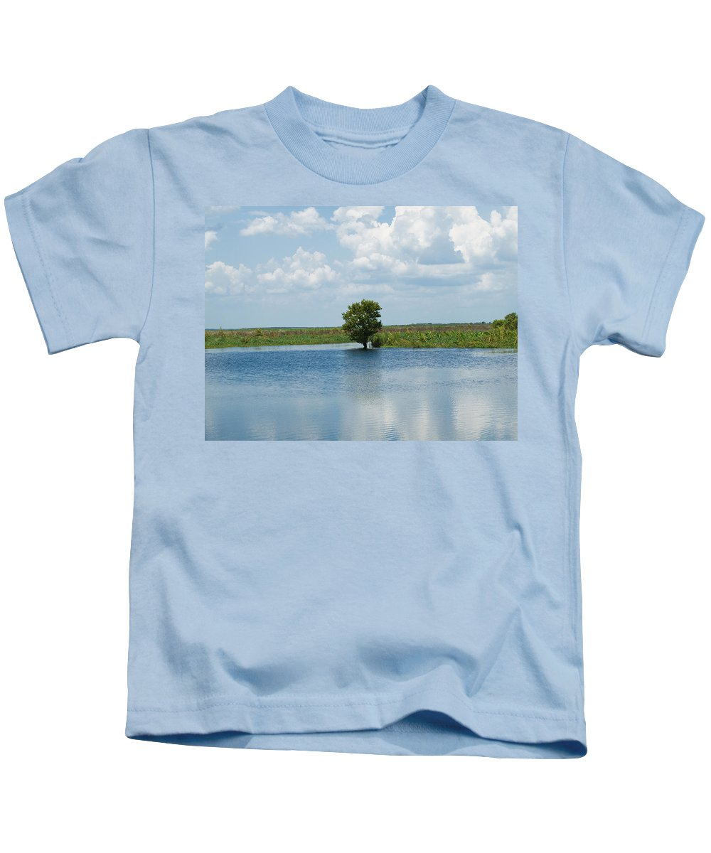 Florida; River; St; Johns; Saint; John; Flow; Flows; North; South Direction; Flowing; Current; Backw Kids T-Shirt featuring the photograph Florida River Backwater by Allan Hughes
