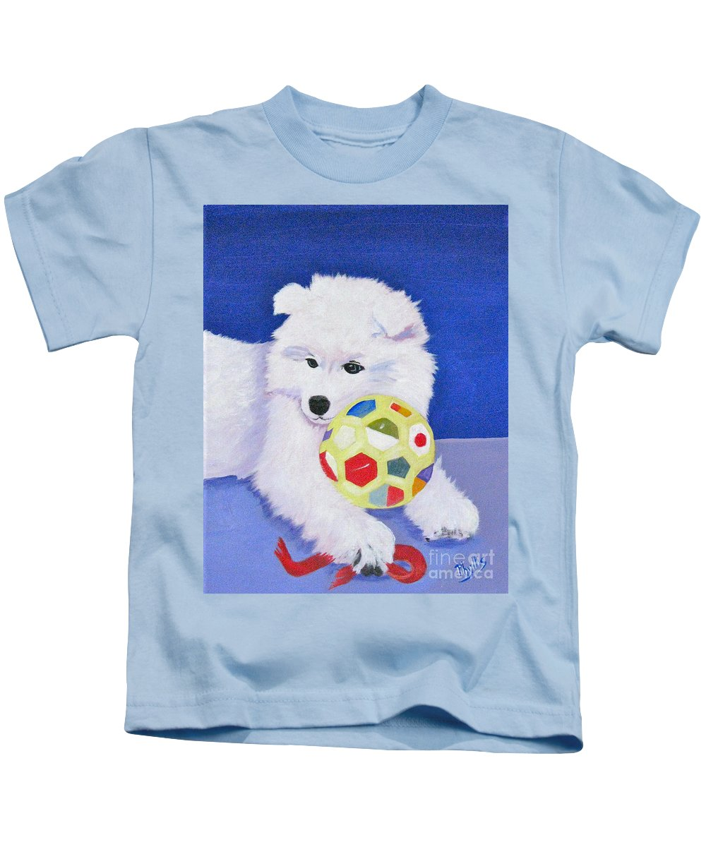 Samoyed Kids T-Shirt featuring the painting Fluffy's Portrait by Phyllis Kaltenbach