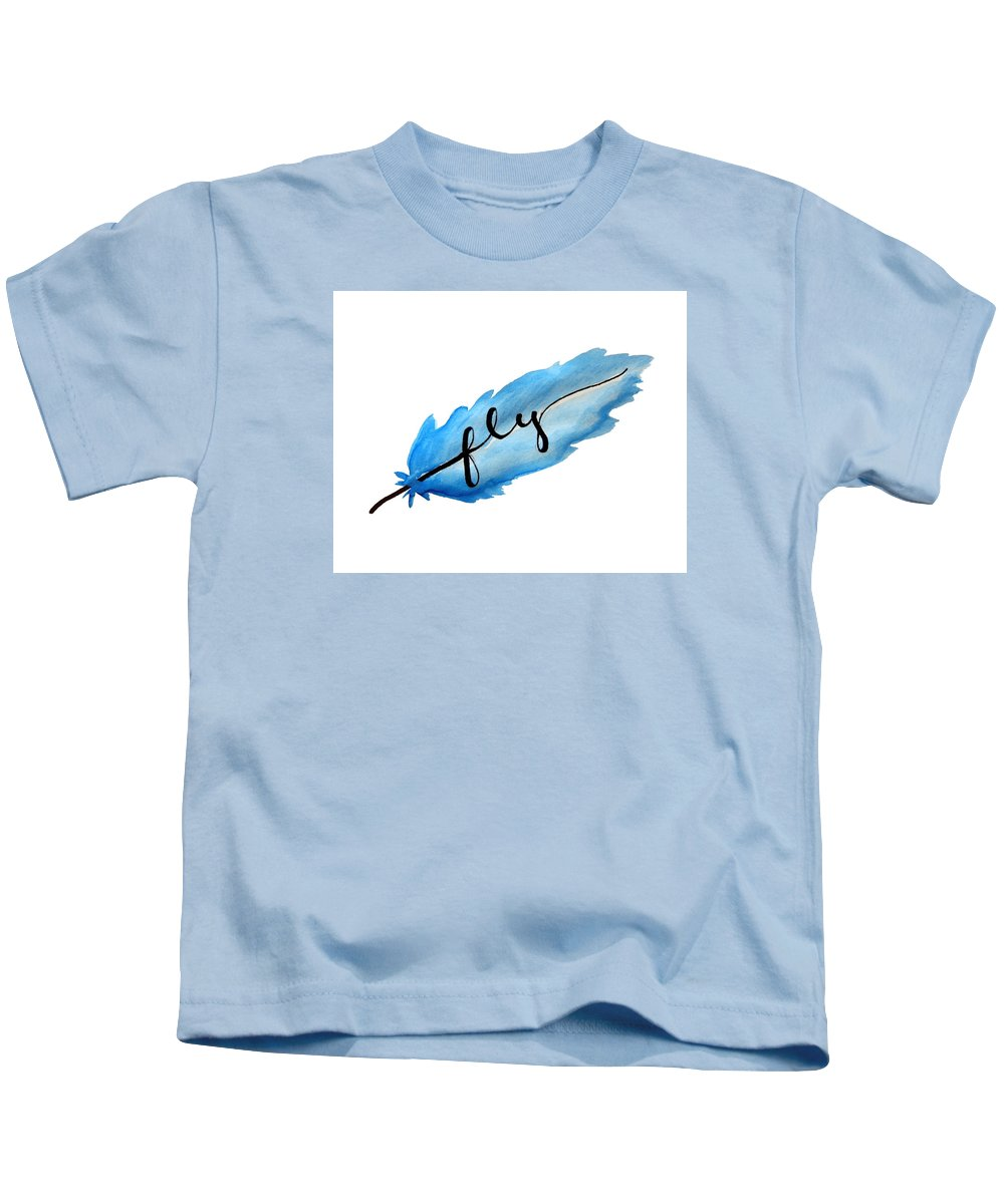Watercolor Kids T-Shirt featuring the painting Fly Watercolor Feather Horizontal by Michelle Eshleman