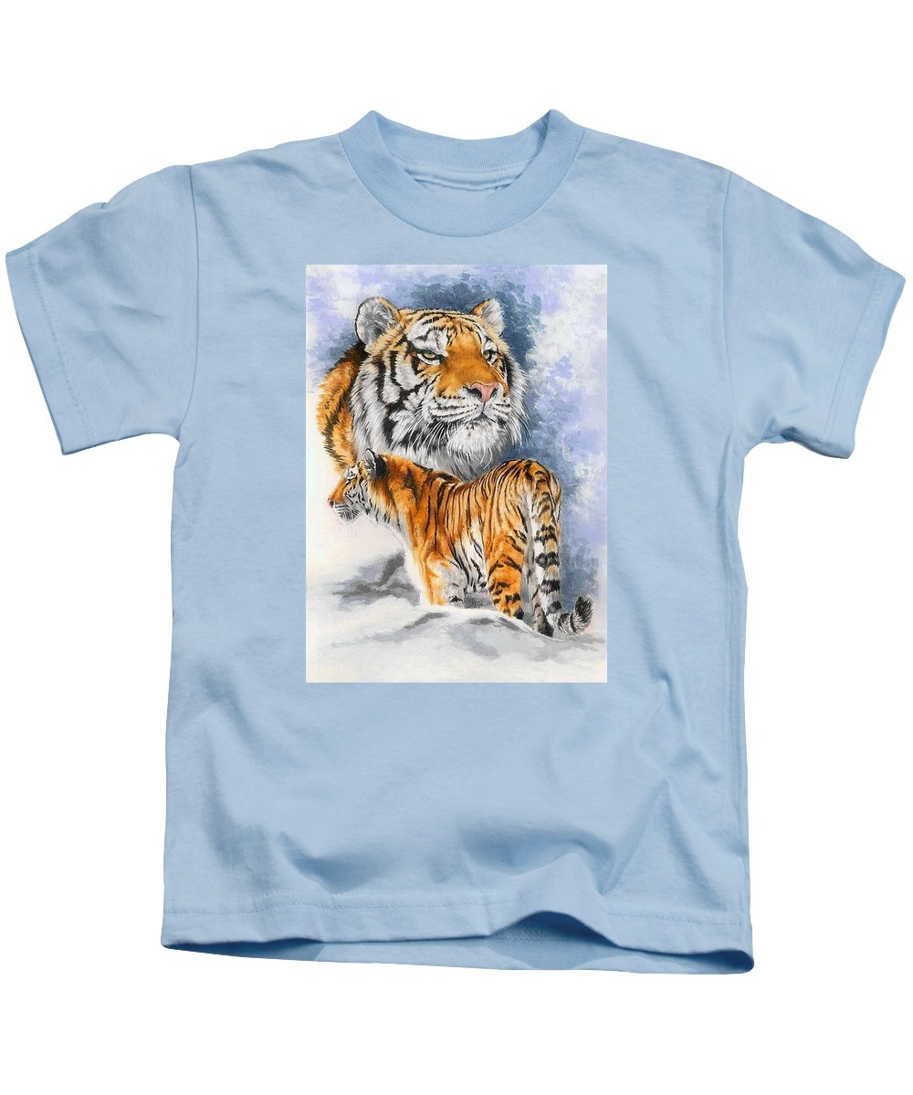 Big Cats Kids T-Shirt featuring the mixed media Forceful by Barbara Keith