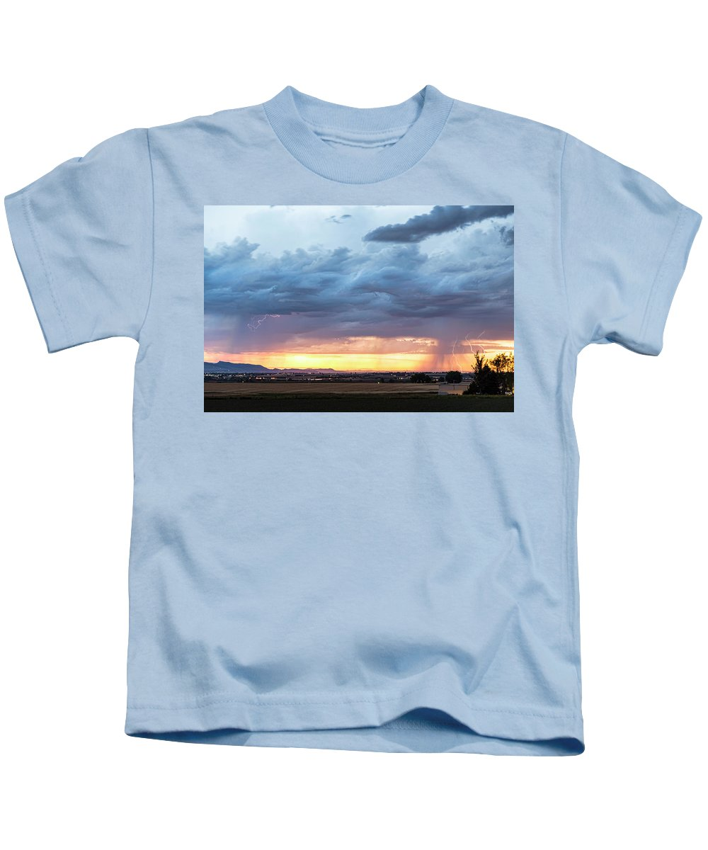 Lightning Kids T-Shirt featuring the photograph Fort Collins Colorado Sunset Lightning Storm by James BO Insogna