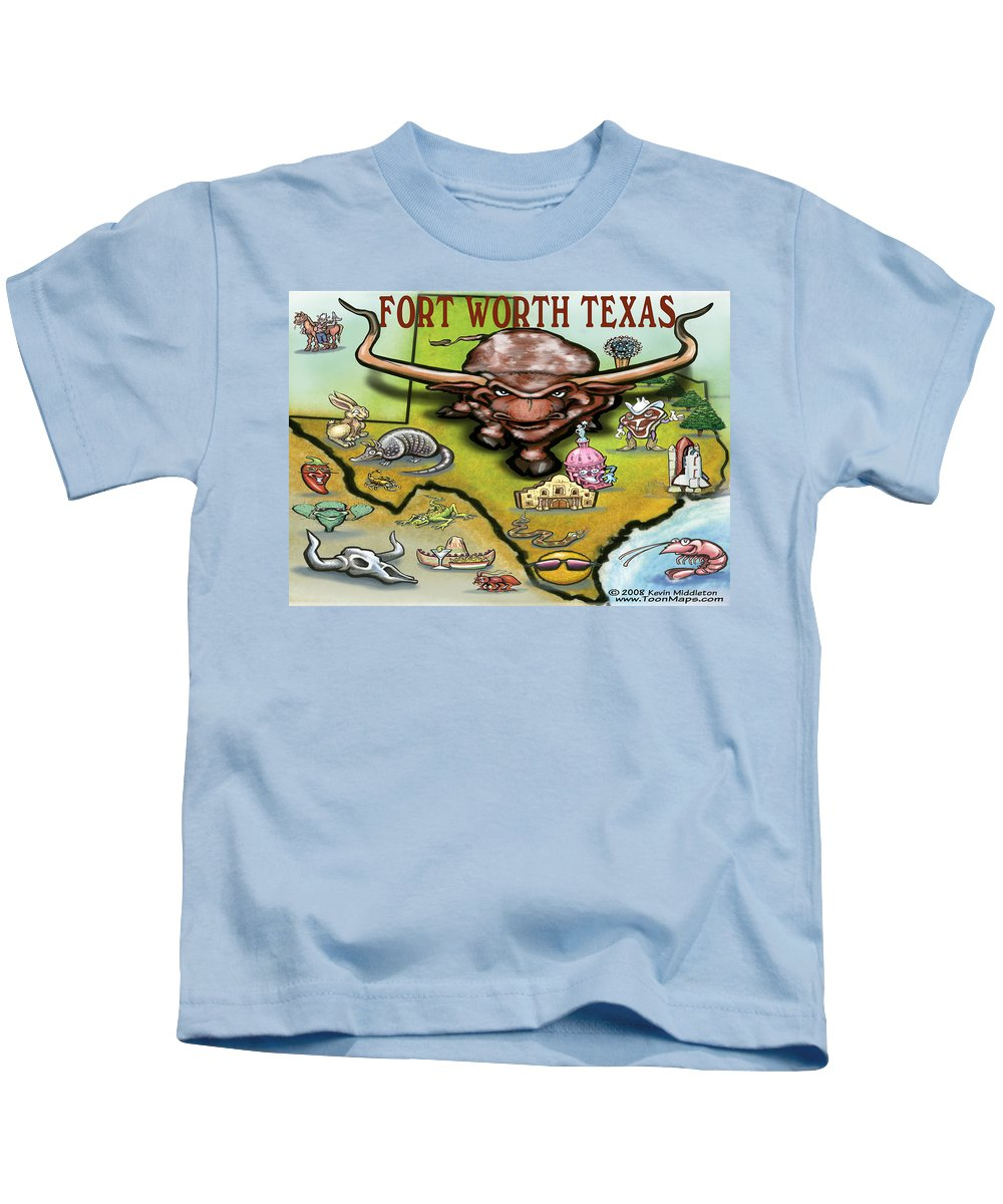 Fort Worth Kids T-Shirt featuring the greeting card Fort Worth Texas Cartoon Map by Kevin Middleton