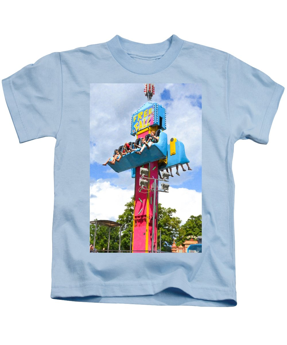 Free Fall Kids T-Shirt featuring the painting Free Fall by Jeelan Clark