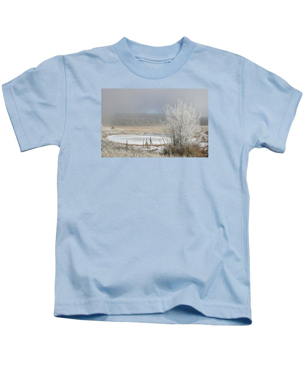 Frozen Fog Kids T-Shirt featuring the photograph Frozen Fog Ranch Scene by Judithann O'Toole