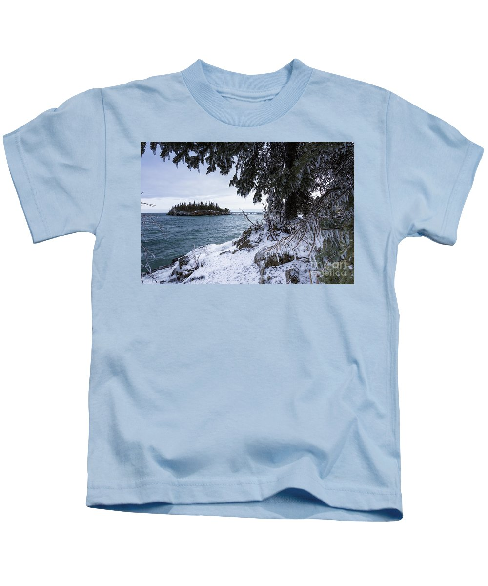 Lake Superior Kids T-Shirt featuring the photograph Frozen View Of Ellingson Island by Donna Crider