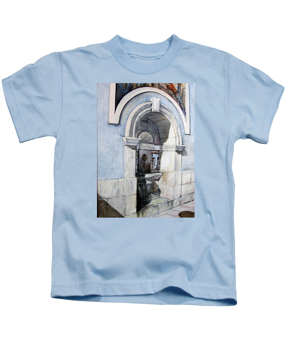 Fuente Kids T-Shirt featuring the painting Fuente Castro Urdiales by Tomas Castano