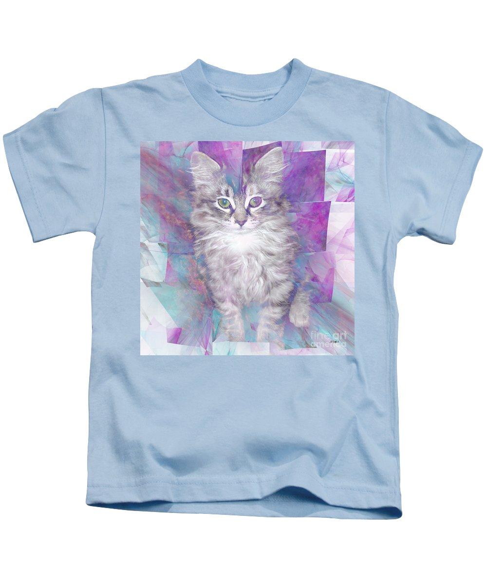 Fur Ball Kids T-Shirt featuring the digital art Fur Ball - Square Version by John Beck