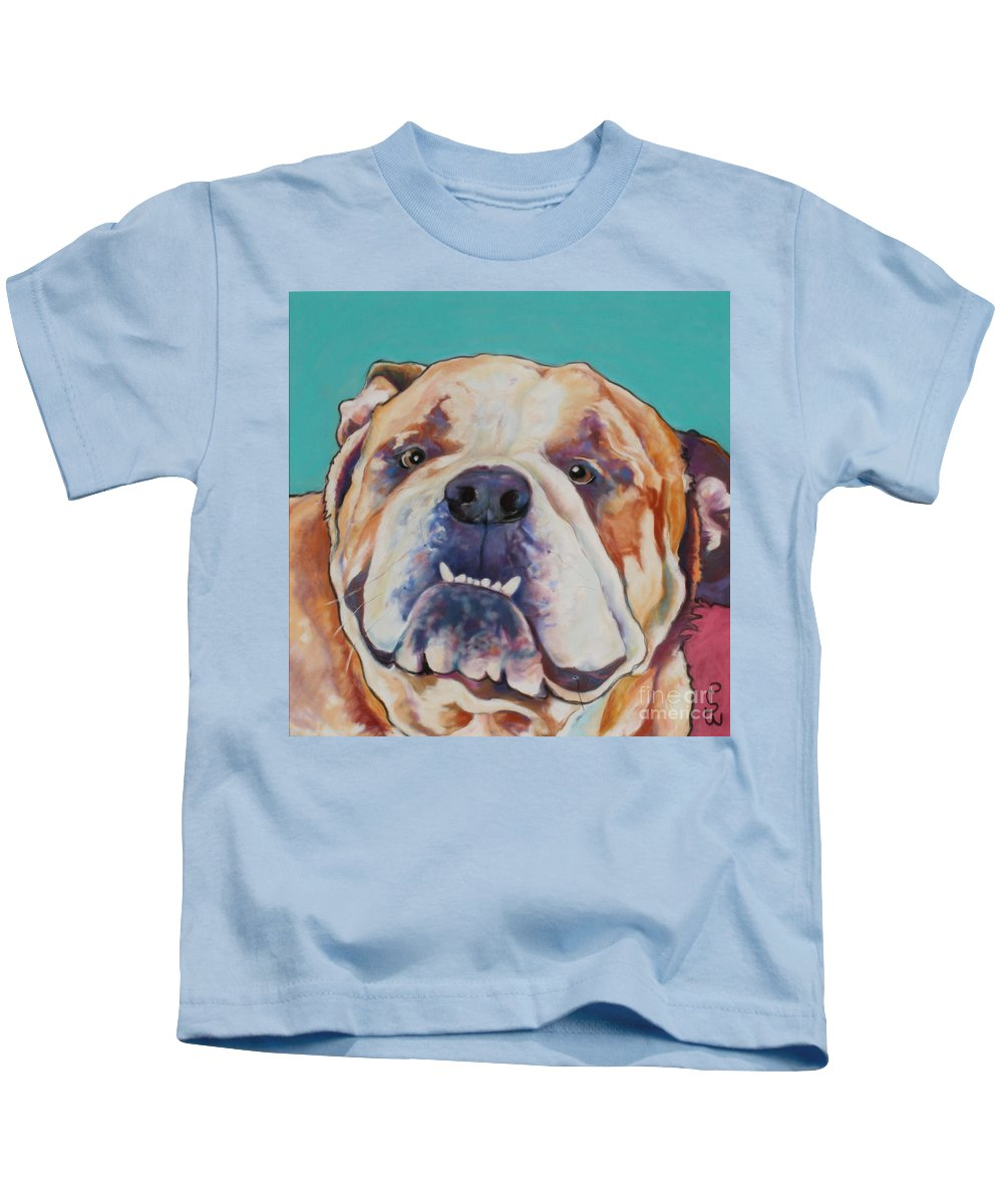Pat Saunders-white Pet Portraits Kids T-Shirt featuring the painting Game Face  by Pat Saunders-White