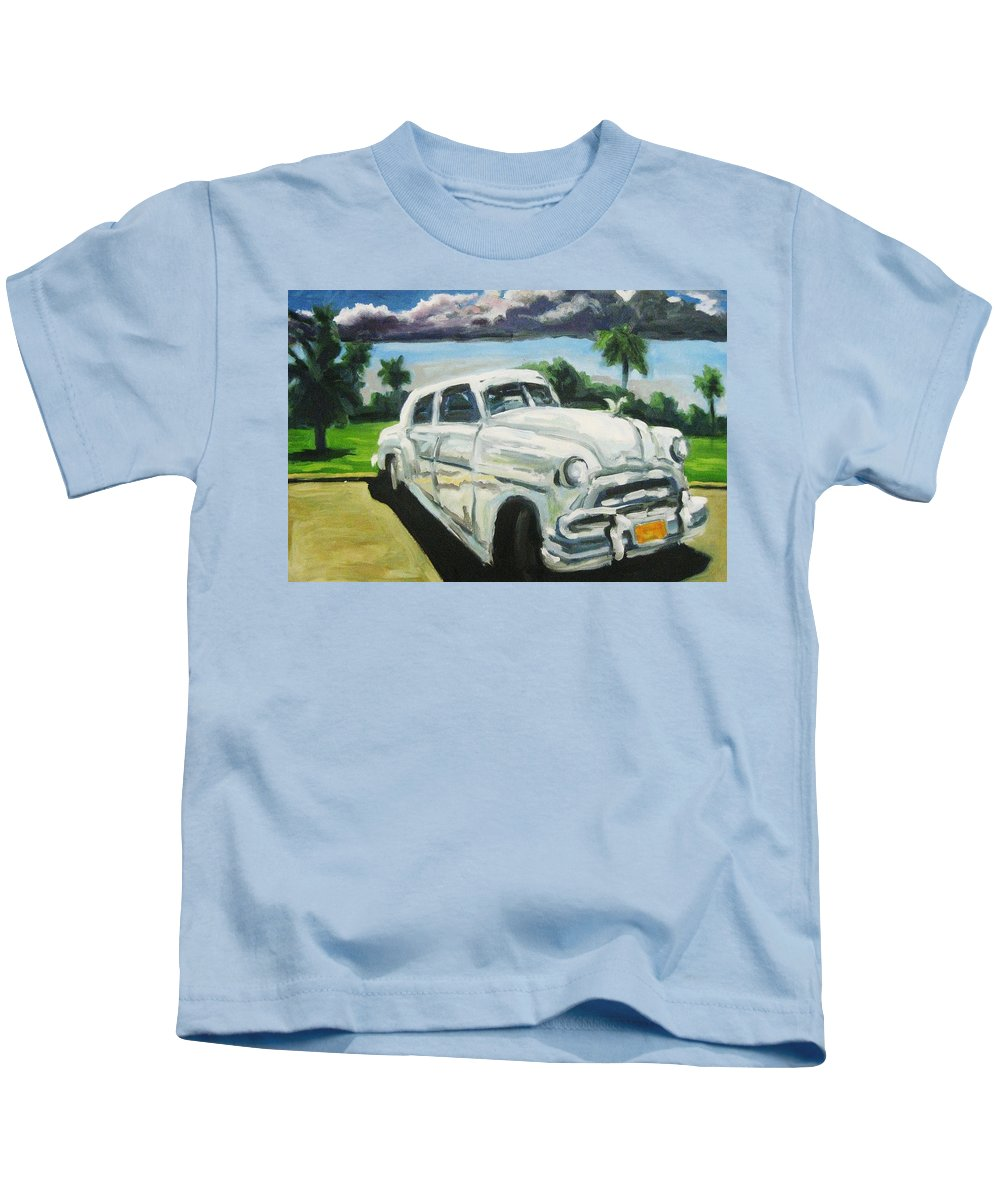 Old Cars Kids T-Shirt featuring the painting Gangsters On Vacation by John Malone